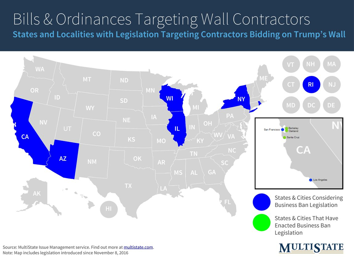 Map Displaying States & Localities Targetting Wall Contractors