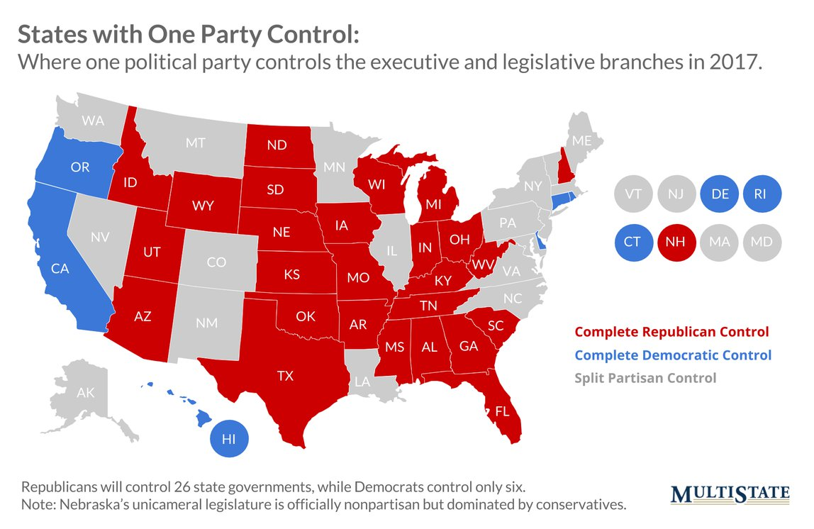Map of States with One Party Control