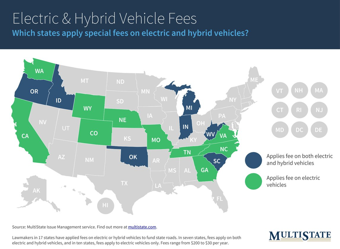 Map of States with Electric & Hybrid ehicle Fees
