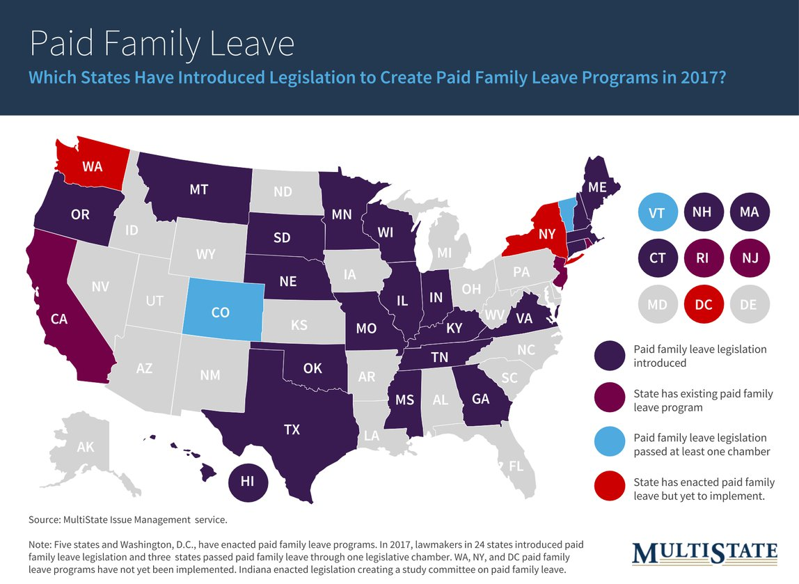 Map of Paid Family Leave Legislation