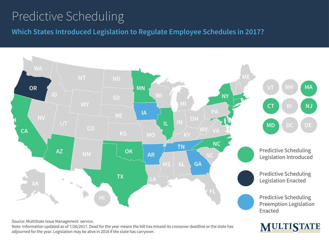 State Map of Predictive Scheduling Legislation