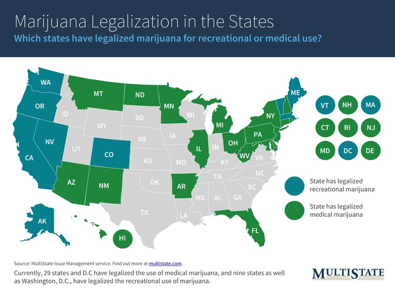 Map of Marijuana Legalization States