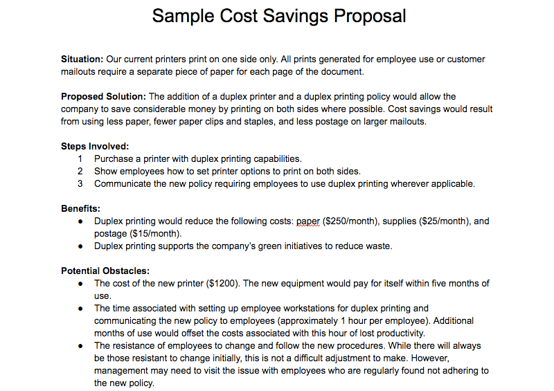 How To Write A Cost Saving Proposal Arthur Cooked